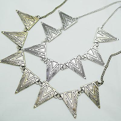 Vintage Bronze/Antique Silver Engraved Triangles Charm Necklace AZTEC TRIBAL