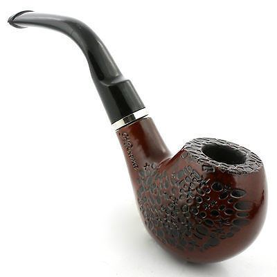 New Wooden Dark Umber Durable Classic Tobacco Smoking Pipe w/ Gift Box & Stand