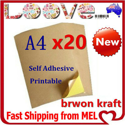 20x A4 Brown Kraft Sticker Paper Sheet Self Adhesive Label Laser Inkjet Printer