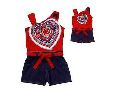 Dollie & Me Girl 2T-5 and Doll Matching Patriotic Romper Outfit American Girl
