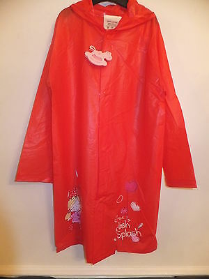New Girls Hooded Pvc Raincoat Knee Length - Colour Red With Umbrella Design
