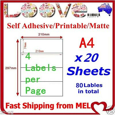 20x A4 Labels Sticker Paper Sheet Mailing Address Office Laser Inkjet 4x1 210*74