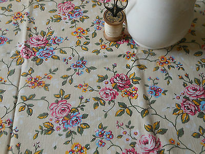 Antique Vintage French Shabby Faded Roses Fabric ~ yellow pink blue green