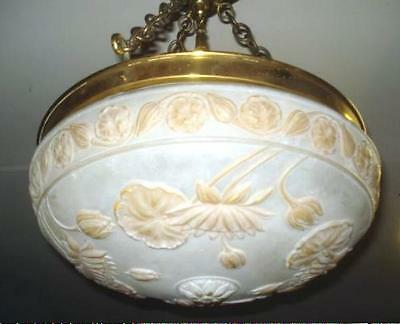 ANTIQUE ARTS & CRAFTS FIXTURE,  Blow Out Flowers, Dome Chandelier W Puffy Globe