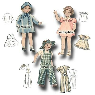 """Vtg Doll Pattern Dress, Coat, Hat ~fits 19"""" 20"""" Shirley Temple Patsy Ann, Compo"""
