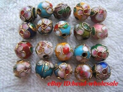 Retro Style 110pcs mixed cloisonne ball round spacer beads 6mm