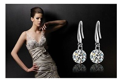 925 Silver Plated Hook Hanging Cubic Zirconia CZ Crystal Drop/Dangle Earrings