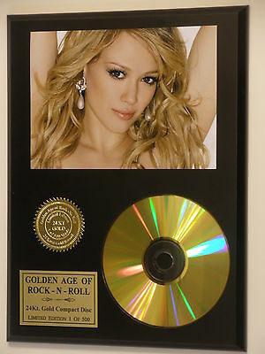Hilary Duff 24k Gold CD Display Rare Limited Edition Free USA Priority Shipping
