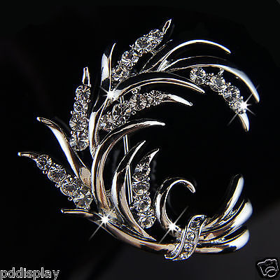 14k white Gold plated leaf crystals brooch pin with Swarovski elements