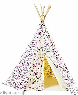 New Floral / Flower And Butterfly Pink Wigwam Play Tent. Indoor Or Outdoor Use