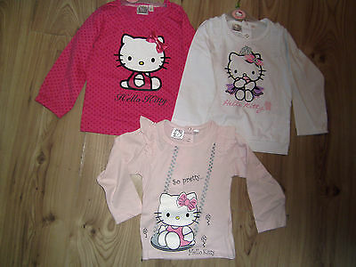 New Baby Girl Hello Kitty Sleeved Cotton Jumper Top/T-Shirt White Pink Polka Dot