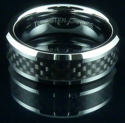Mens Tungsten Carbide Ring Black Carbon Fiber Band Wedding Engagement Gift