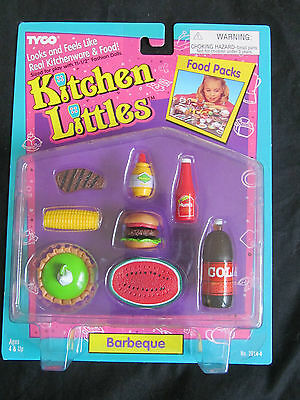 Brand New In Box 1995 Barbie Tyco Kitchen Littles Barbeque Bbq Food Packs