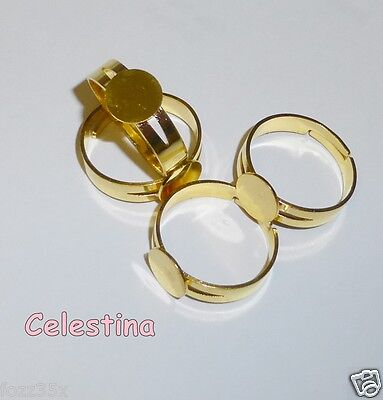 10 Brass Gold Colour Unplated Adjustable Ring Bases Blanks - 8mm Pad - RING2