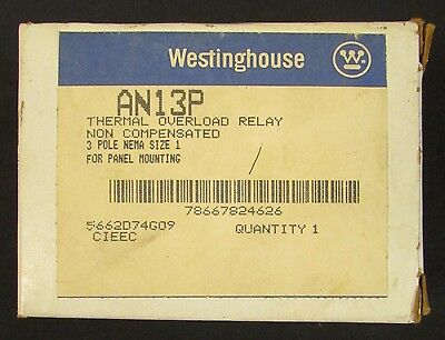 WESTINGHOUSE AN13P Thermal Overload Relay 3 Pole NEMA Size 1