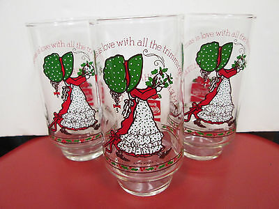 Vintage Set Of 3 Coca Cola Glasses - Holly Hobbie - Limited Edition