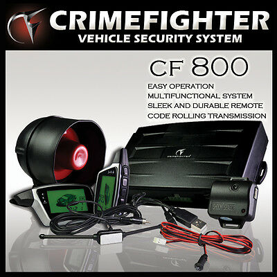 CRIMEFIGHTER CF-800 Two Way Pager Car Alarm System Remote Engine Auto Start