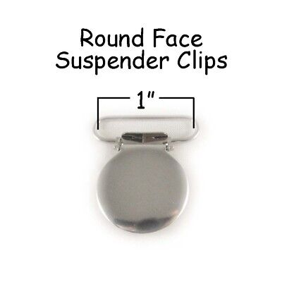 """25 Suspender Paci Pacifier Holder Mitten Clips - 1"""" Round Face LEAD FREE + Inst"""