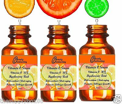 UPGRADE to 2.2oz Vitamin C Serum 30% DOUBLE Strength w PURE Hyaluronic Acid!