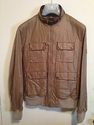 Authentic Belstaff Mens Gold Label Waxed Bomber Jacket Size Xxl $995