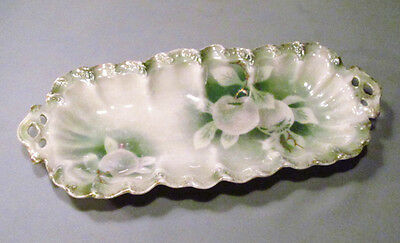 "Vintage Weimar Germany 12"" Pearlized Porcelain Green Apple Serving Dish Tray"