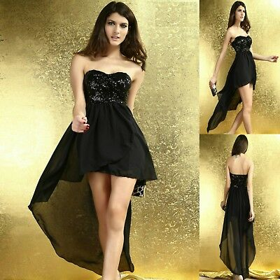 f09ee537ba57c Sexy Strapless Sequin High Low Cocktail Dance Party Formal Club Prom Dress  Women