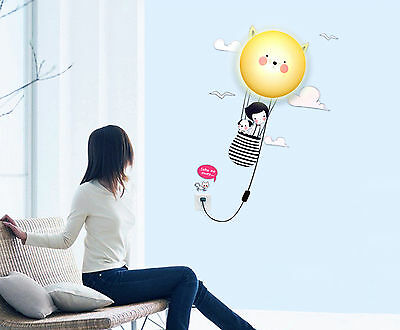 Cute Kids Night Light Wall Hanging Lamp with Stickers for Bedroom Plug in Type