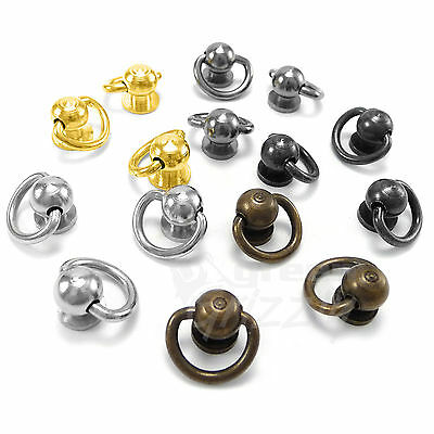 10 mm Ball post with D ring dee ring leather different colors screw back AF8