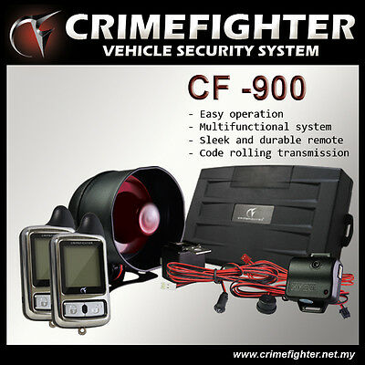 CRIMEFIGHTER CF-900 Two Way Pager Car Alarm System Remote Engine Auto Start