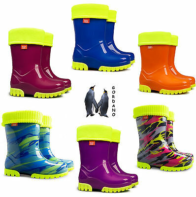 Kids Boys Girls Wellies Wellington Boots Rainy Snow Fluo Neon Warm Liner