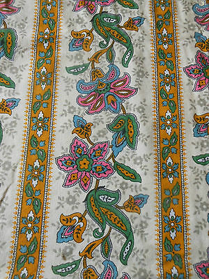 Antique Vintage French Fabric ~ Provence Paisley ~blue pink green mustard