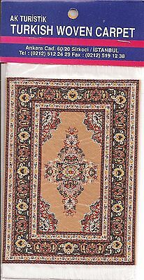 Imported Miniature Turkish Woven Carpet -Tan Rust Black