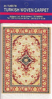 Imported Miniature Turkish Woven Carpet-Ivory Red Black