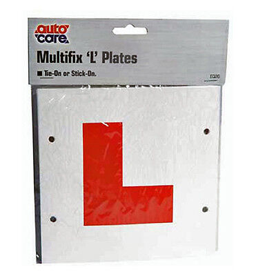 L Plates Multi Fix 1 Pair Autocare - Stick On Self Adhesive Tie On Learner Red L