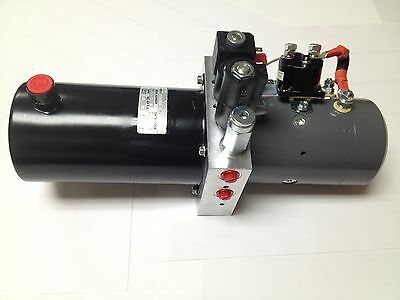 Snow Plow 12V DC Hydraulic Power Pack Double Acting Supply Unit 2qt Steel Tank