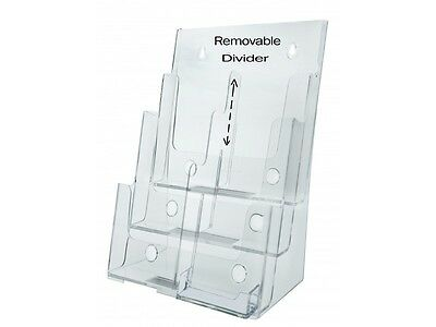 "Acrylic 3-Tier Brochure Holder for 8.5""w Literature With Business Card Pocket"