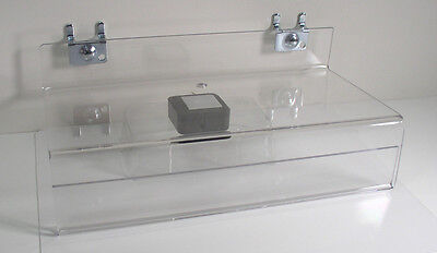 "Clear Plastic Retail Display Shelf 10"" x 5"" + 36"" Security Tether Peg Slatwall"