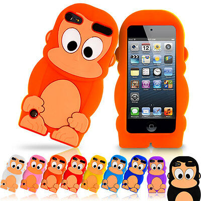 3D Cute Monkey Cartoon TPU Silicone Soft Gel Rubber Case Cover For iPod Touch 5