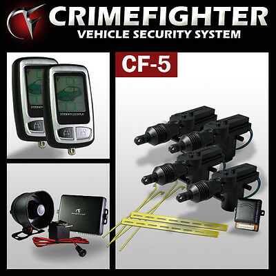 CRIMEFIGHTER CF-5 LCD Remote One Way Car Alarm System Central Locking Kit