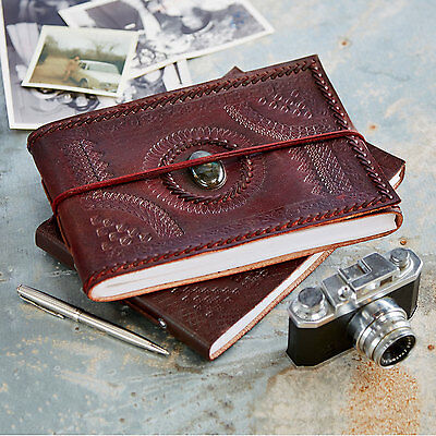 Indra Fair Trade Handmade Medium Embossed Stitched Stoned Leather Photo Album