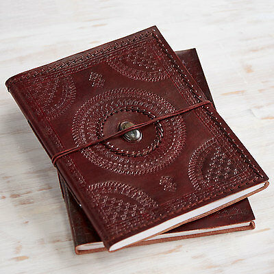 Indra Fair Trade Handmade XL Embossed Stitched Stoned Leather Photo Album
