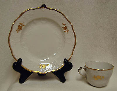 Antique MEISSEN Cup & Saucer Embossed Gold Floral Hand Painted