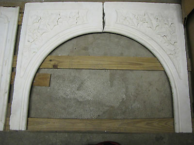 Two Rococo White Carrar Marble Mantle Front Pieces With Leaves  6083