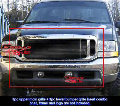 Fits Ford F250/F350/2000-04 Excursion Black Billet Grill Combo 99-04