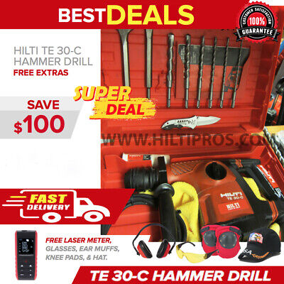 Hilti Te 30-C Avr Corded Hammer Drill, Preowned, Free Extras, Fast Ship
