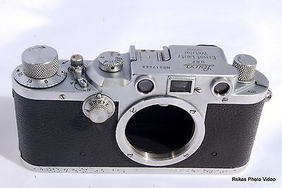 Vintage Leica IIIc rangefinder camera body only III C 1946 flash sync modified