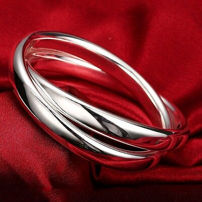 New 925 Sterling Silver Filled Double Large Hoops Solid Charm Bracelet Bangle