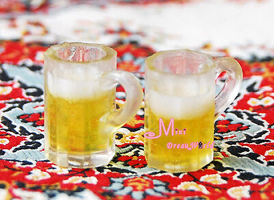 1:12 Dollhouse Miniature Kitchen 2PCS Glass of Beers Cup FE17