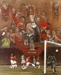 """Stephen Doig. Manchester United """" TREBLE WINNERS """"  Limited Edition Print"""