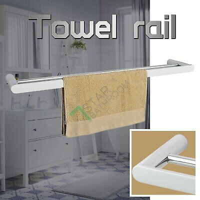 About 800mm Double Towel Rack Rail Chrome Stainless Steel 304 Wall Bathroom NEW